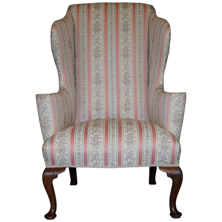 Very Rare Fully Restored Howard & Son's Walnut Wingback Armchair Regency Stripe For Sale