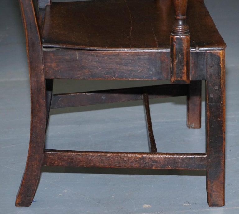 Very Rare George II circa 1760 Primitive Carver Armchair Original Period Repairs For Sale 6