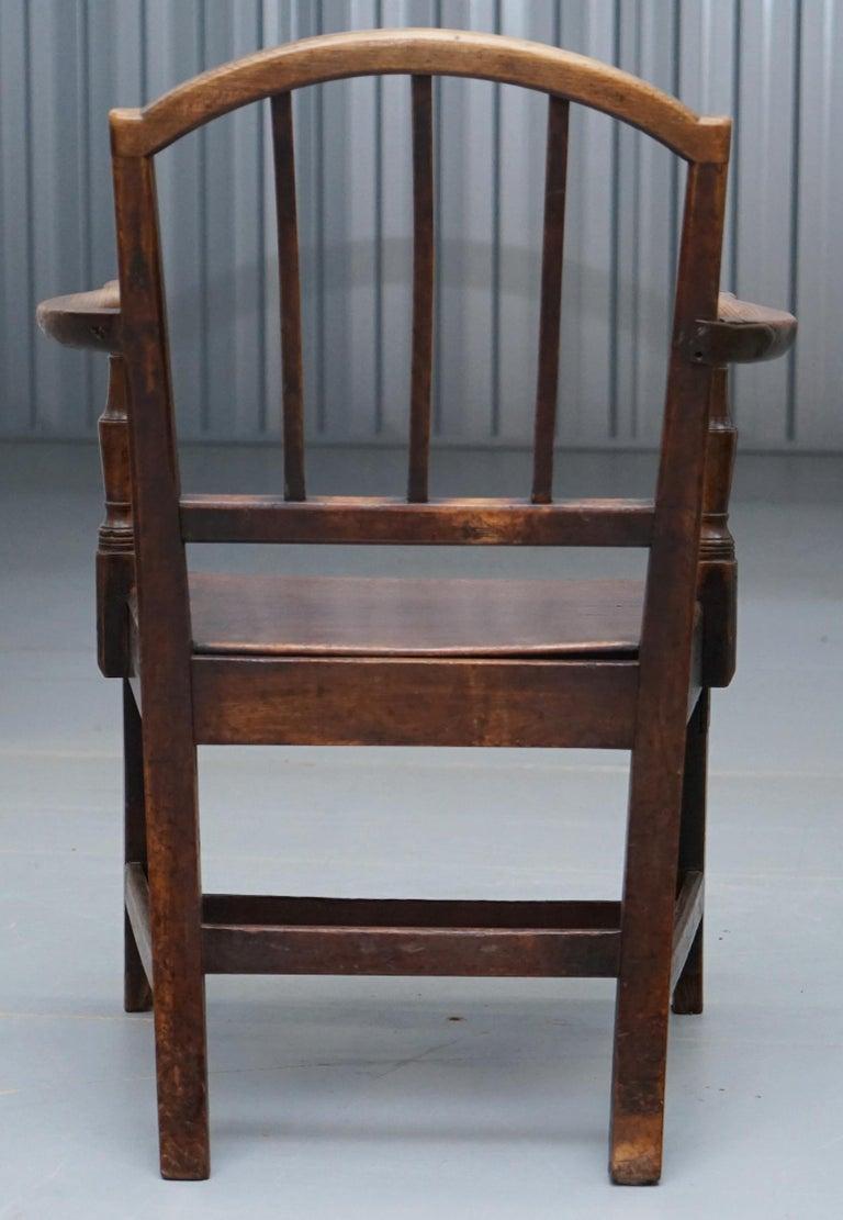 Very Rare George II circa 1760 Primitive Carver Armchair Original Period Repairs For Sale 9