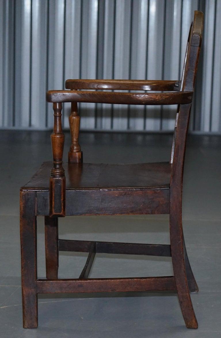 Very Rare George II circa 1760 Primitive Carver Armchair Original Period Repairs For Sale 10