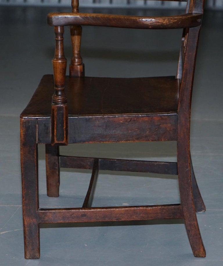 Very Rare George II circa 1760 Primitive Carver Armchair Original Period Repairs For Sale 11