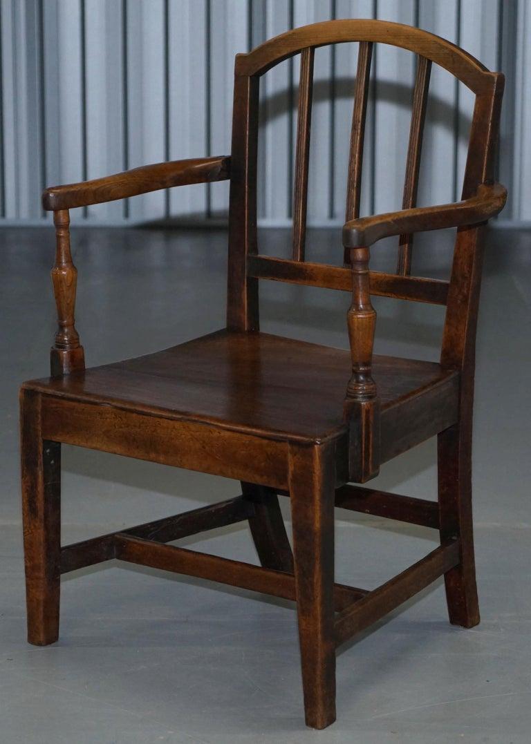 English Very Rare George II circa 1760 Primitive Carver Armchair Original Period Repairs For Sale