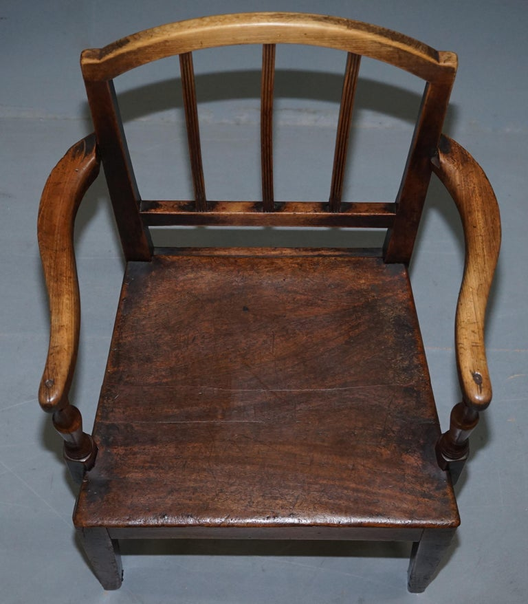 Hand-Crafted Very Rare George II circa 1760 Primitive Carver Armchair Original Period Repairs For Sale