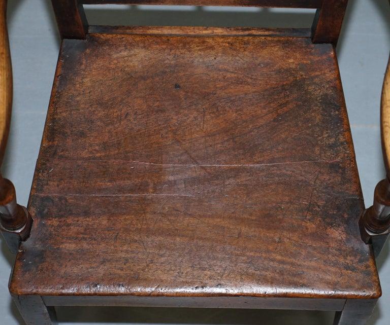 Very Rare George II circa 1760 Primitive Carver Armchair Original Period Repairs In Distressed Condition For Sale In , Pulborough
