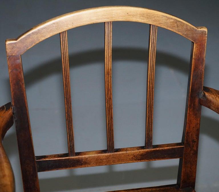 Mid-18th Century Very Rare George II circa 1760 Primitive Carver Armchair Original Period Repairs For Sale