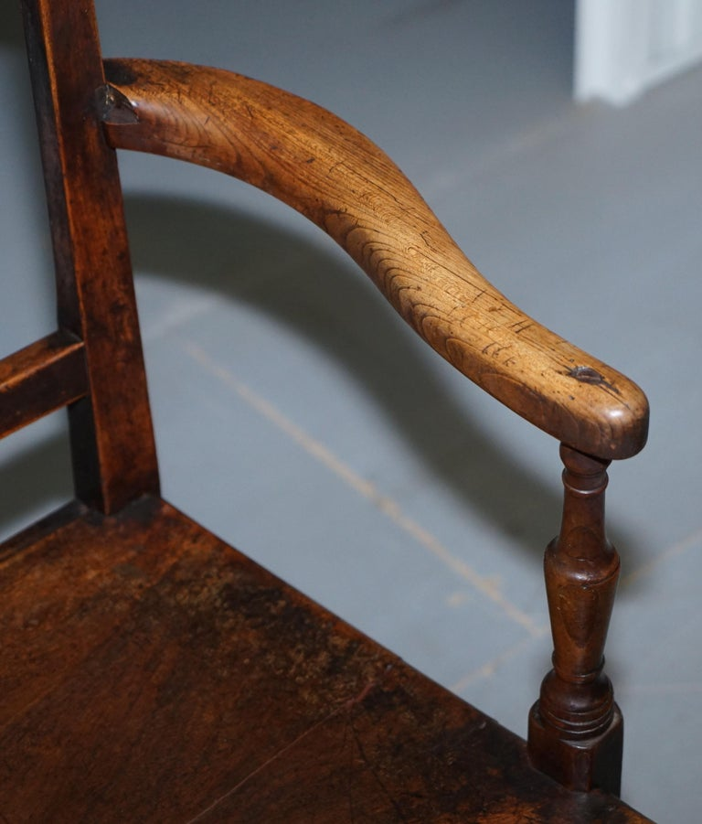 Oak Very Rare George II circa 1760 Primitive Carver Armchair Original Period Repairs For Sale