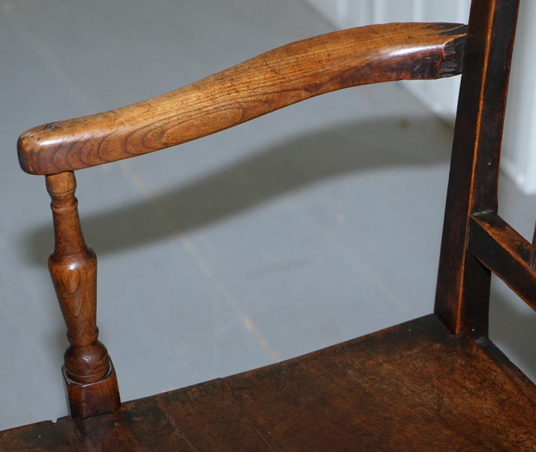 Very Rare George II circa 1760 Primitive Carver Armchair Original Period Repairs For Sale 2