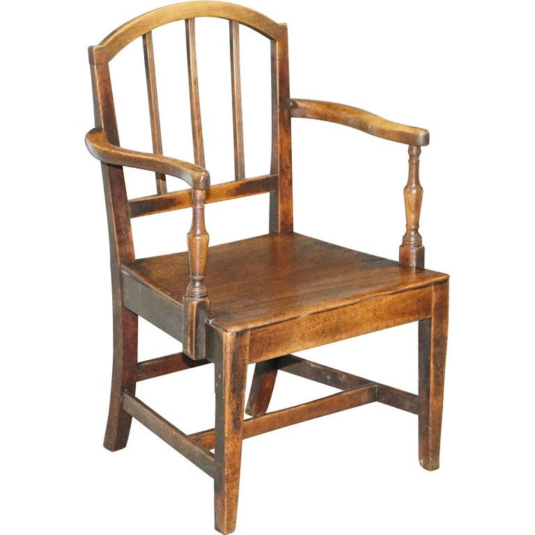 Very Rare George II circa 1760 Primitive Carver Armchair Original Period Repairs For Sale