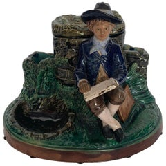 Very Rare German Majolica Humidor, Boy with Books, circa 1880 by B. Block & Co.