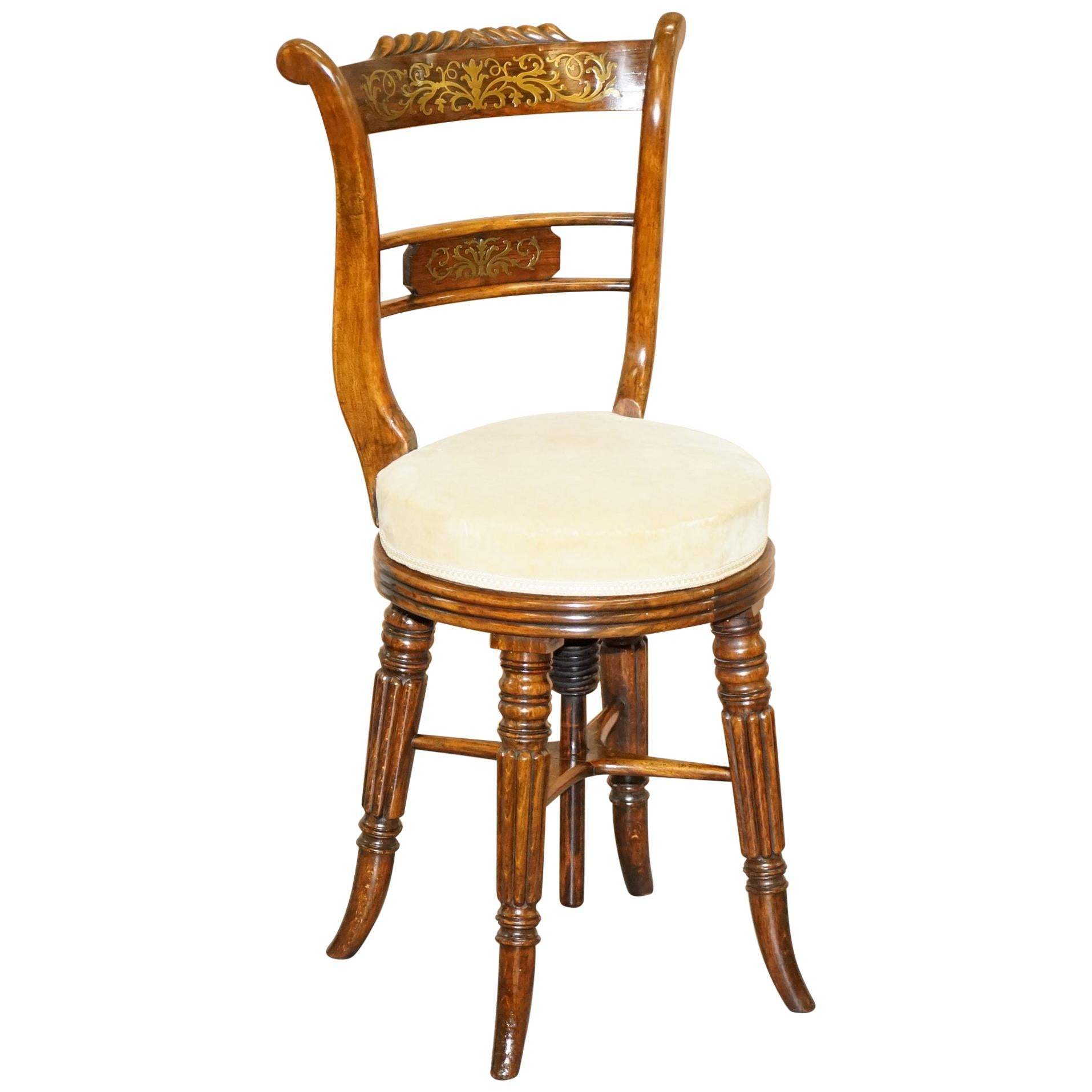 Very Rare Gillows of Lancaster Regency Hardwood Harpist Height Adjustable Chair