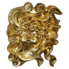 Very Rare Gold Gilt Papier Mache Wall Hanging Mask of the God of Wind in Mask