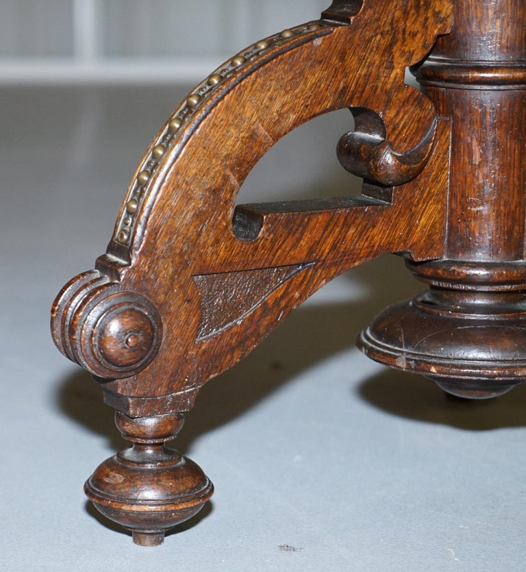 Very Rare Gothic Revival English Oak Marble & Bronze Side Table Stunning Patina For Sale 5
