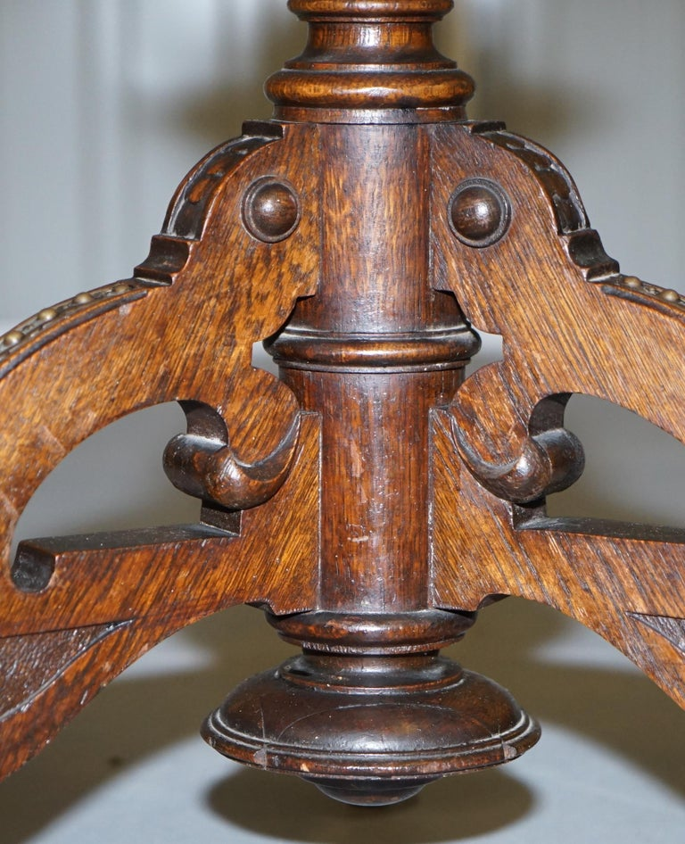 Very Rare Gothic Revival English Oak Marble & Bronze Side Table Stunning Patina For Sale 6