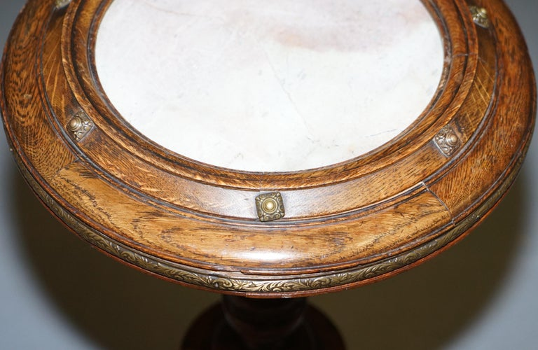 Early Victorian Very Rare Gothic Revival English Oak Marble & Bronze Side Table Stunning Patina For Sale