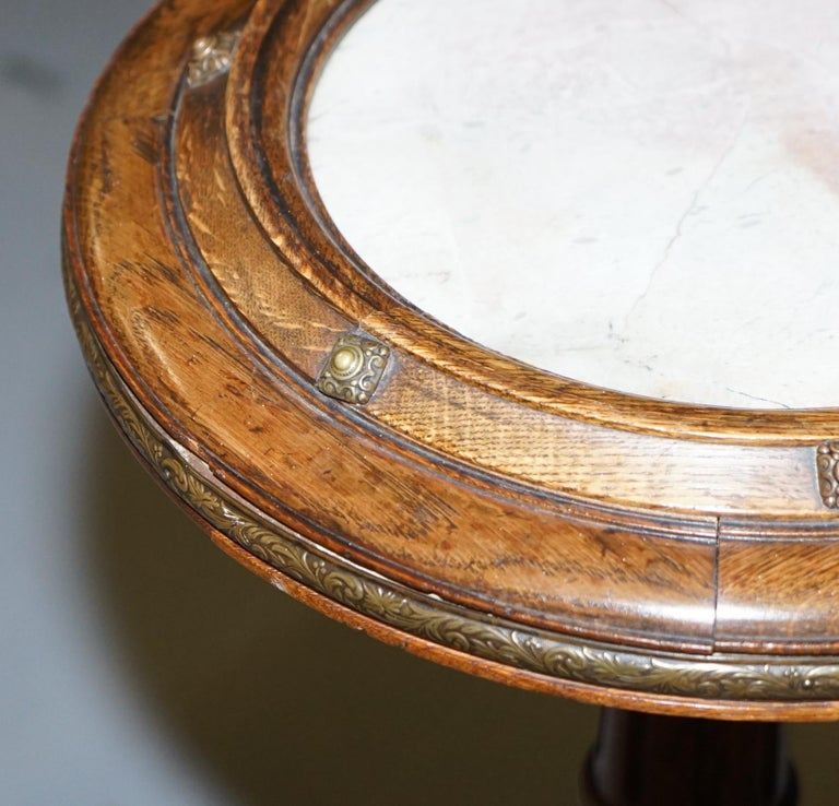 Hand-Crafted Very Rare Gothic Revival English Oak Marble & Bronze Side Table Stunning Patina For Sale