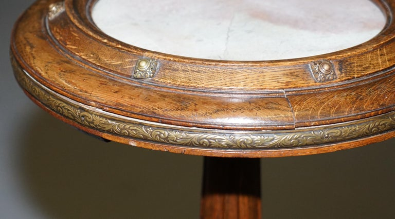 Very Rare Gothic Revival English Oak Marble & Bronze Side Table Stunning Patina In Good Condition For Sale In London, GB