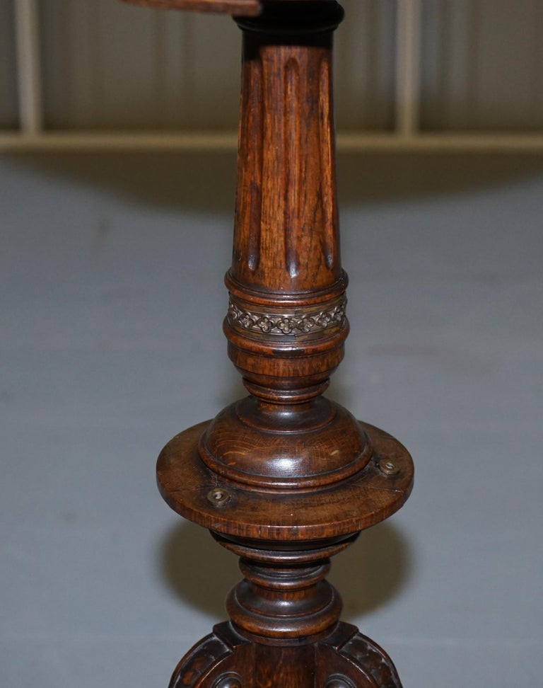19th Century Very Rare Gothic Revival English Oak Marble & Bronze Side Table Stunning Patina For Sale