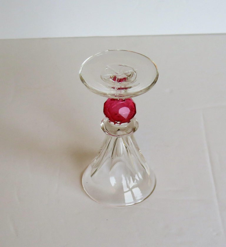 Rare Hand Blown Drinking Glass with Cranberry Colored Knop, English Mid-19th C For Sale 5