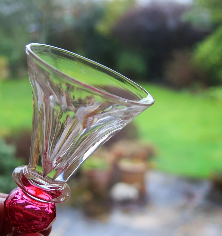 Rare Hand Blown Drinking Glass with Cranberry Colored Knop, English Mid-19th C For Sale 8