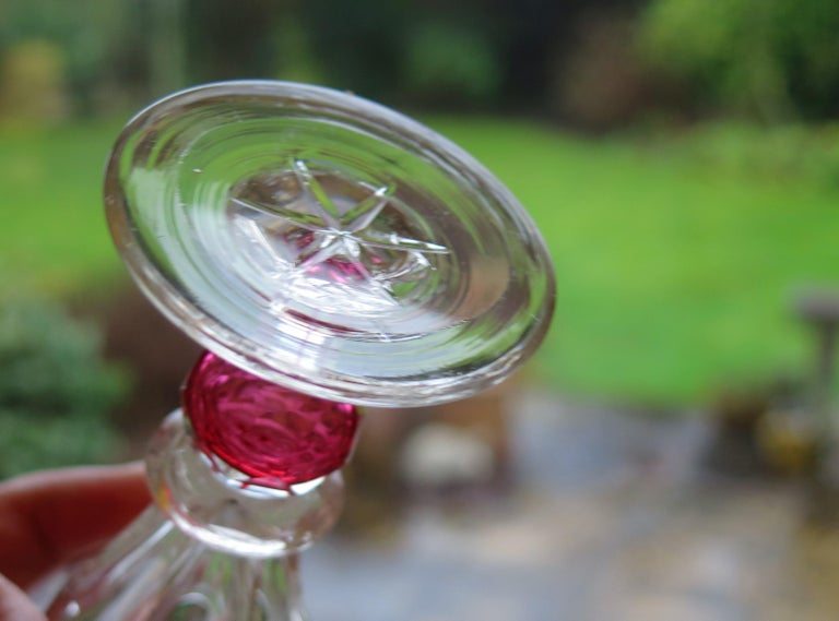 Rare Hand Blown Drinking Glass with Cranberry Colored Knop, English Mid-19th C For Sale 10