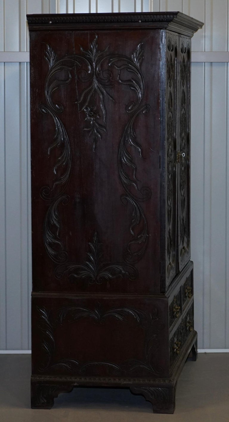 Very Rare Hand Carved Edward & Roberts circa 1880 Armoire Wardrobe with Drawers For Sale 5