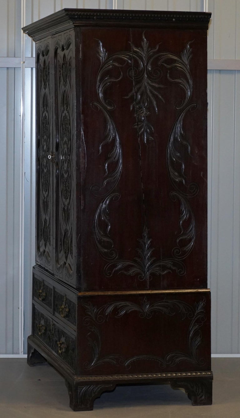 Very Rare Hand Carved Edward & Roberts circa 1880 Armoire Wardrobe with Drawers For Sale 7