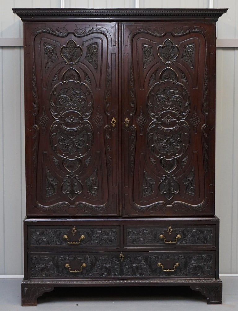Victorian Very Rare Hand Carved Edward & Roberts circa 1880 Armoire Wardrobe with Drawers For Sale