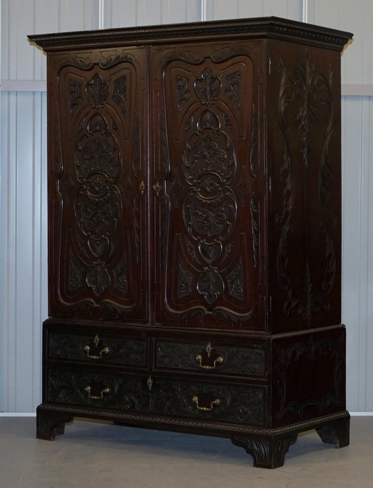 English Very Rare Hand Carved Edward & Roberts circa 1880 Armoire Wardrobe with Drawers For Sale