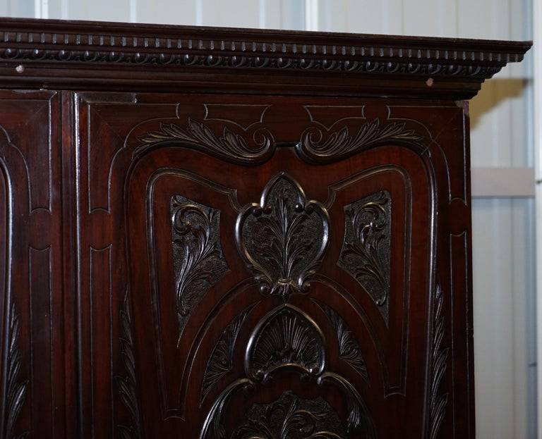 Late 19th Century Very Rare Hand Carved Edward & Roberts circa 1880 Armoire Wardrobe with Drawers For Sale