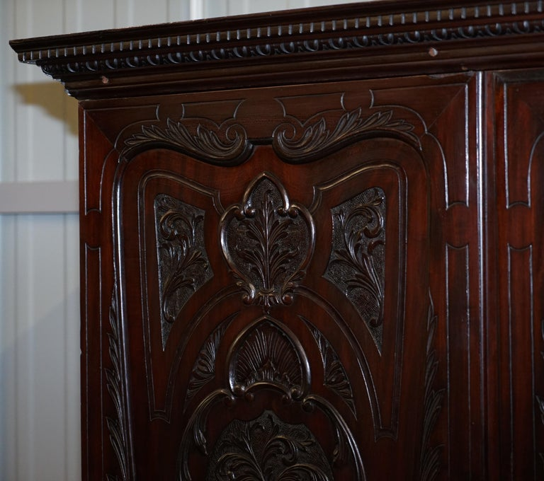 Mahogany Very Rare Hand Carved Edward & Roberts circa 1880 Armoire Wardrobe with Drawers For Sale