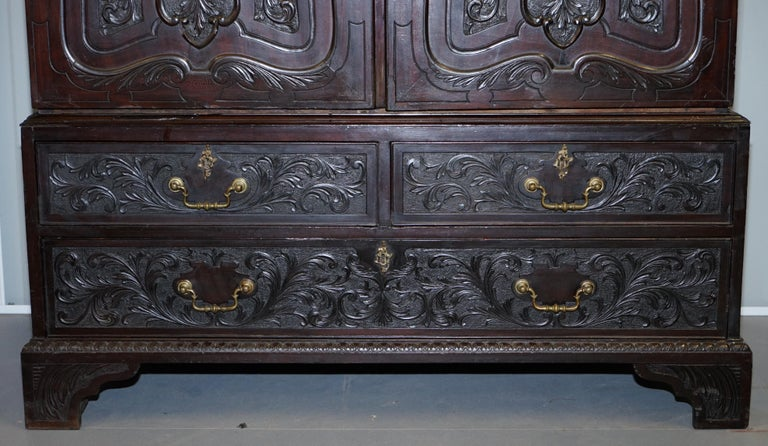 Very Rare Hand Carved Edward & Roberts circa 1880 Armoire Wardrobe with Drawers For Sale 1
