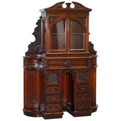 Very Rare Hand Carved Walnut Victorian Cabinet with Drawers Cupboards
