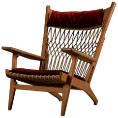 Very Rare Hans Wegner Oak Flag Halyard Chair JH719 for Johannes Hansen