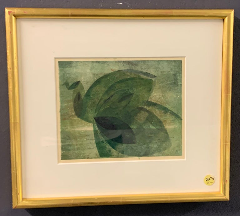 Paint Very Rare Harry Bertoia Monoprint on Rice Paper For Sale