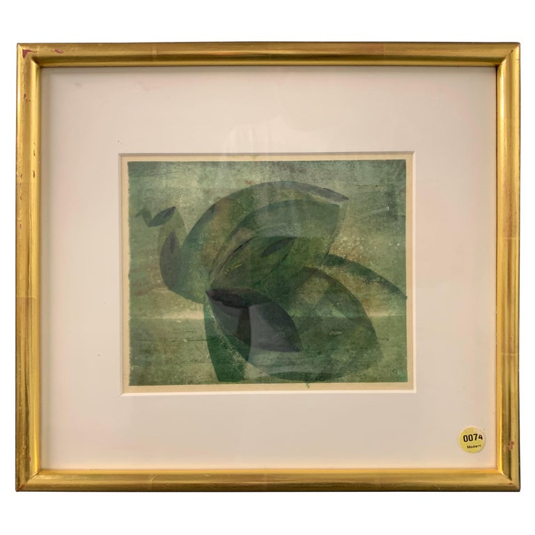 Very Rare Harry Bertoia Monoprint on Rice Paper For Sale