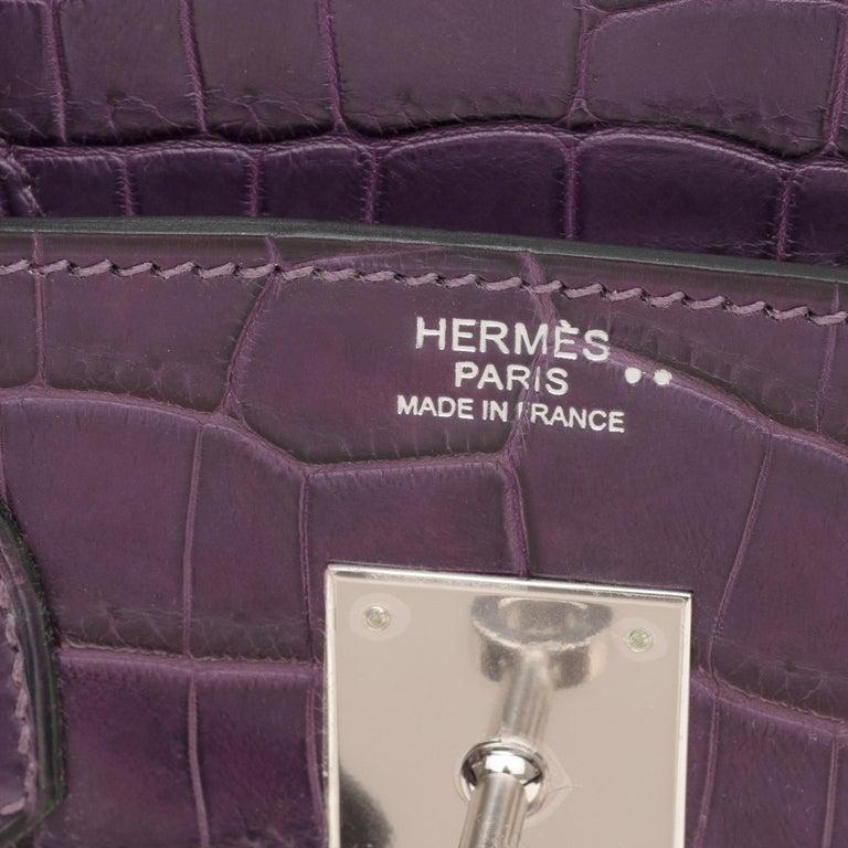 Very Rare Hermès Birkin 30 handbag in Croco Nilo Améthyste, PHW For Sale 6