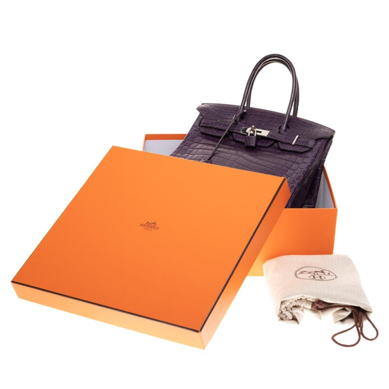 Very Rare Hermès Birkin 30 handbag in Croco Nilo Améthyste, PHW For Sale 7