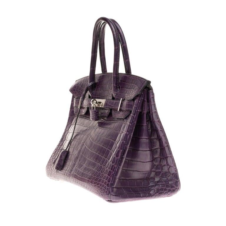 Gray Very Rare Hermès Birkin 30 handbag in Croco Nilo Améthyste, PHW For Sale