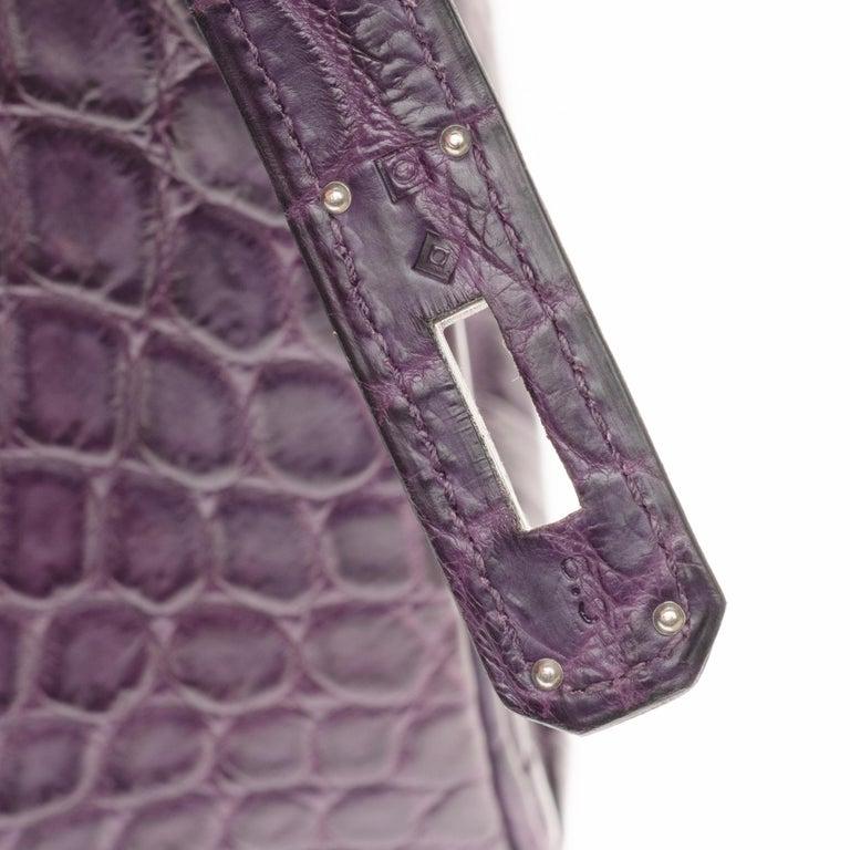Very Rare Hermès Birkin 30 handbag in Croco Nilo Améthyste, PHW For Sale 1