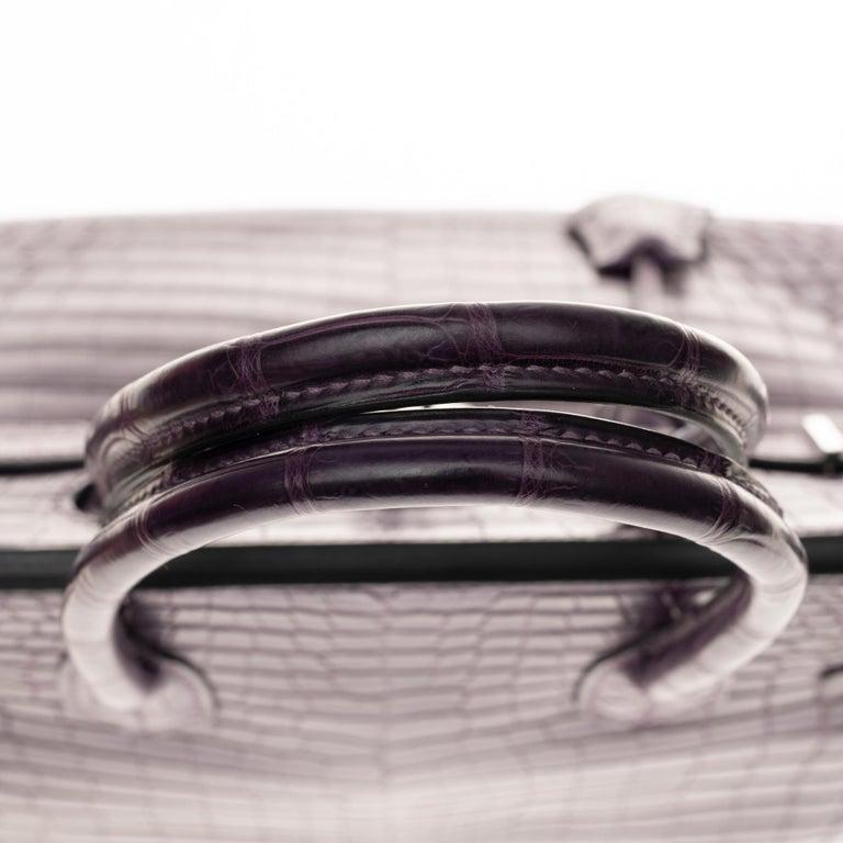 Very Rare Hermès Birkin 30 handbag in Croco Nilo Améthyste, PHW For Sale 3