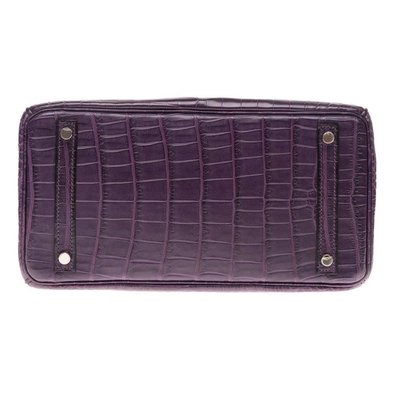 Very Rare Hermès Birkin 30 handbag in Croco Nilo Améthyste, PHW For Sale 4