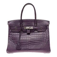 Very Rare Hermès Birkin 30 handbag in Croco Nilo Améthyste, PHW