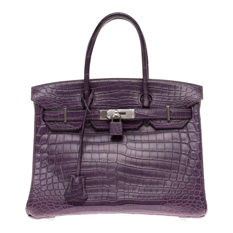 Very Rare Hermès Birkin 30 handbag in Croco Nilo Améthyste, PHW For Sale