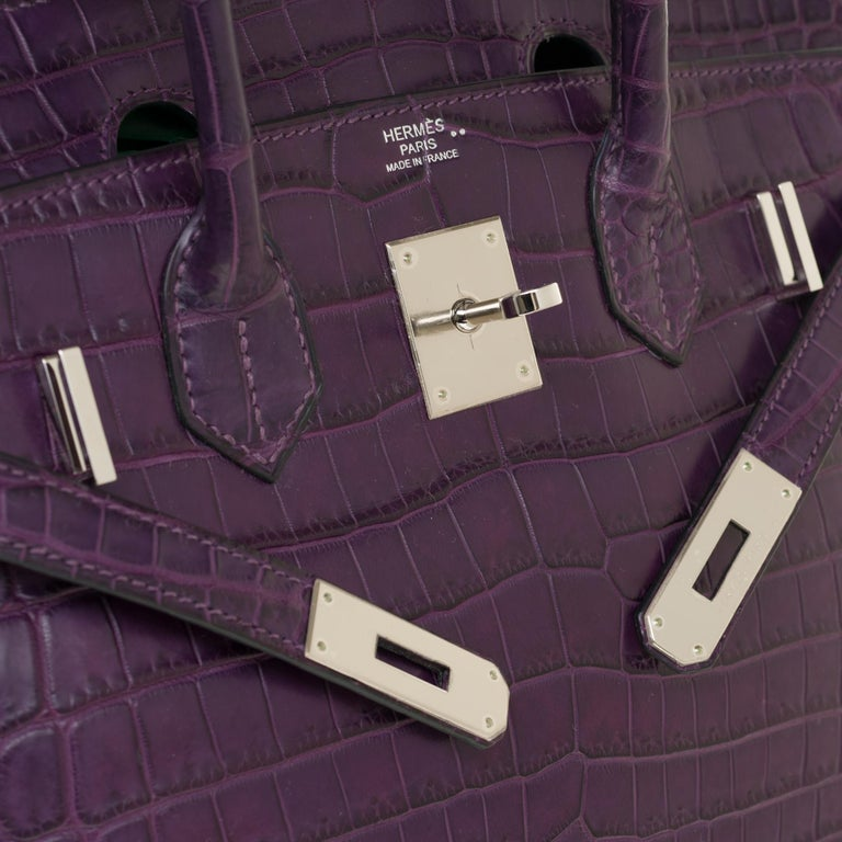 Women's Very Rare Hermès Birkin 30 handbag in Croco Niloticus Améthyste, PHW For Sale