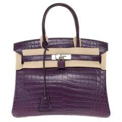 Very Rare Hermès Birkin 30 handbag in Croco Niloticus Améthyste, PHW