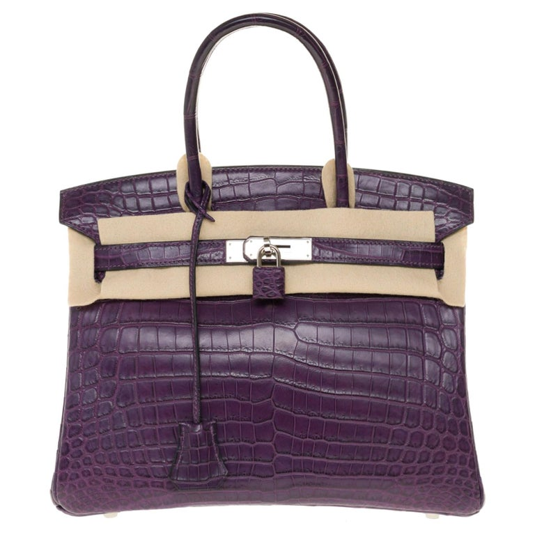 Very Rare Hermès Birkin 30 handbag in Croco Niloticus Améthyste, PHW For Sale