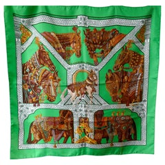 "Very Rare Hermes Black Silk Scarf ""Danse du Cheval Marwari"" by Annie Faivre 2008"