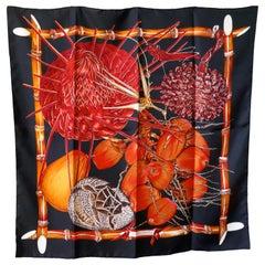 """Very Rare Hermes Black Silk Scarf """"Jardin Creole"""", Valerie Dawlat Dumoulin 1994"""