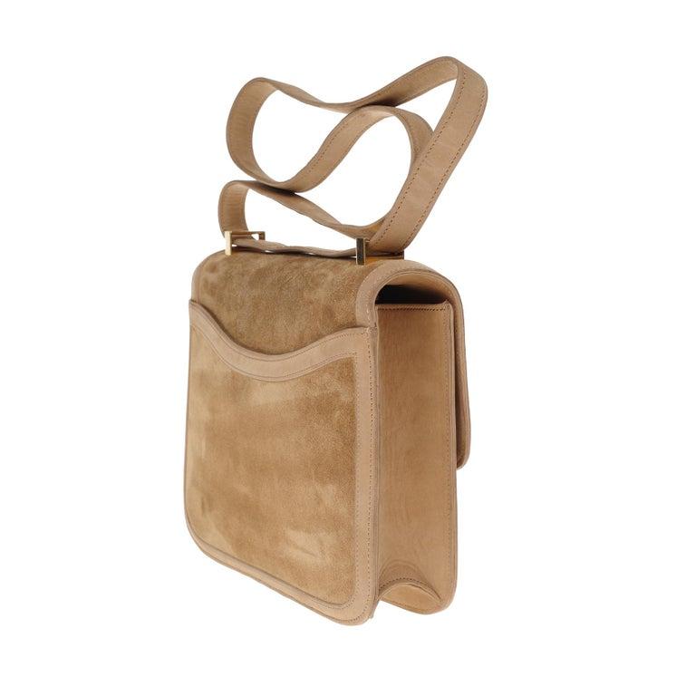 Women's VERY RARE Hermes Constance  DOBLIS shoulder bag in sand color & Gold hardware! For Sale