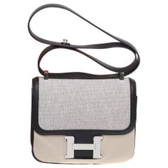 LIMITED EDITION Hermes Constance shoulder bag in bi-material:canvas&leather,PHW